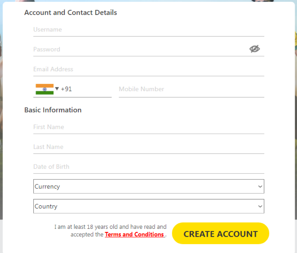 Form for sending personal data on the site DafaBet