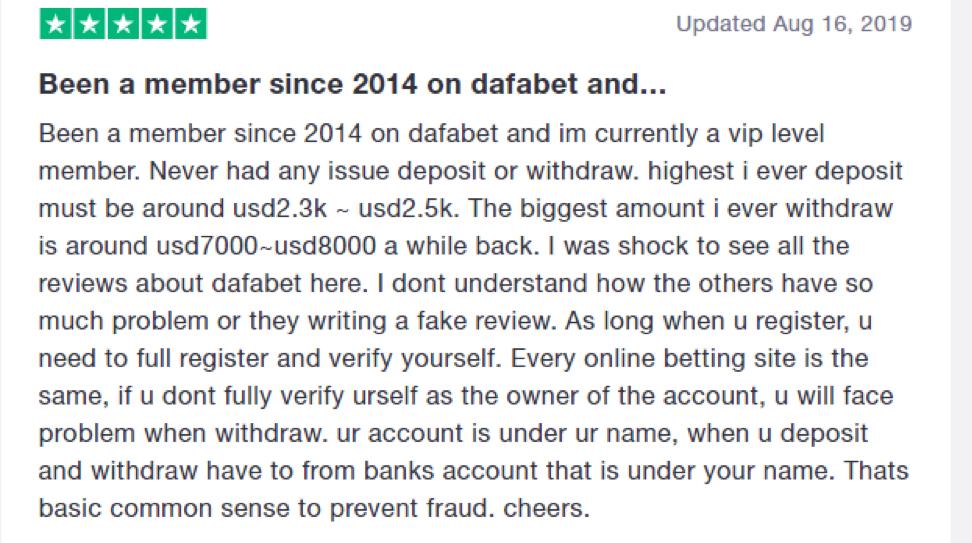 Dafabet समीक्षा उदाहरण 2